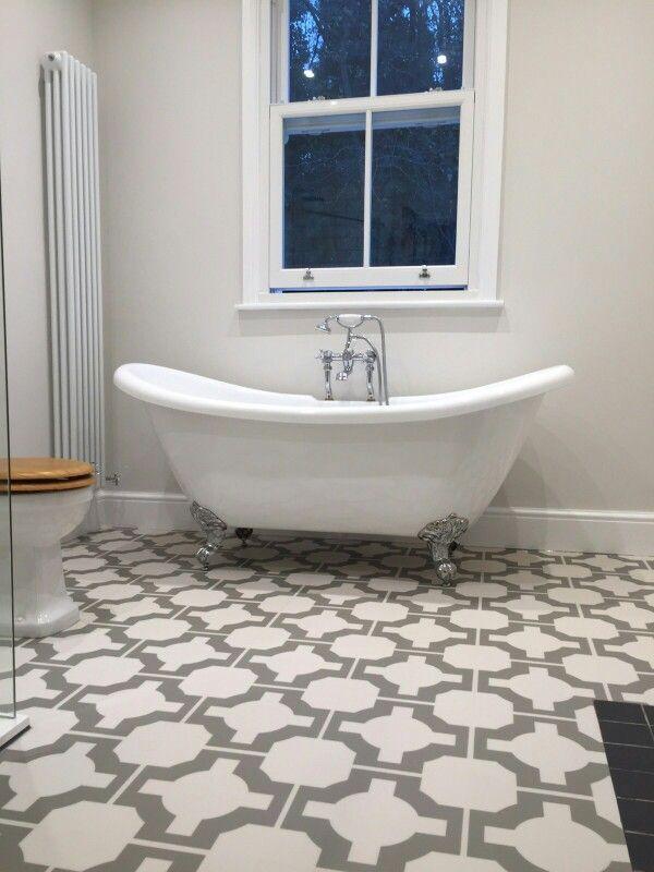 More bathroom pics. Farrow and ball strong white. Harvey maria tiles. Burlington roll top bath.