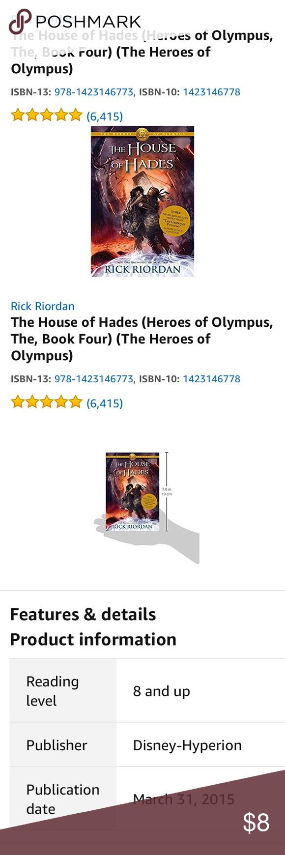 The House of Hades Heroes of Olympus 💗📖 The House of Hades (Heroes of Olympus, The, Book Four) (The Heroes of Olympus).  Rick Riordan is the #1 New York Times bestselling author of the Percy Jackson and the Olympians series, the Kane Chronicles, and the Heroes of Olympus. He is also the author of the multi-award-winning Tres Navarre mystery series for adults. Condition is gently used ⭐️⭐️⭐️⭐️⭐️✅ Disney Other
