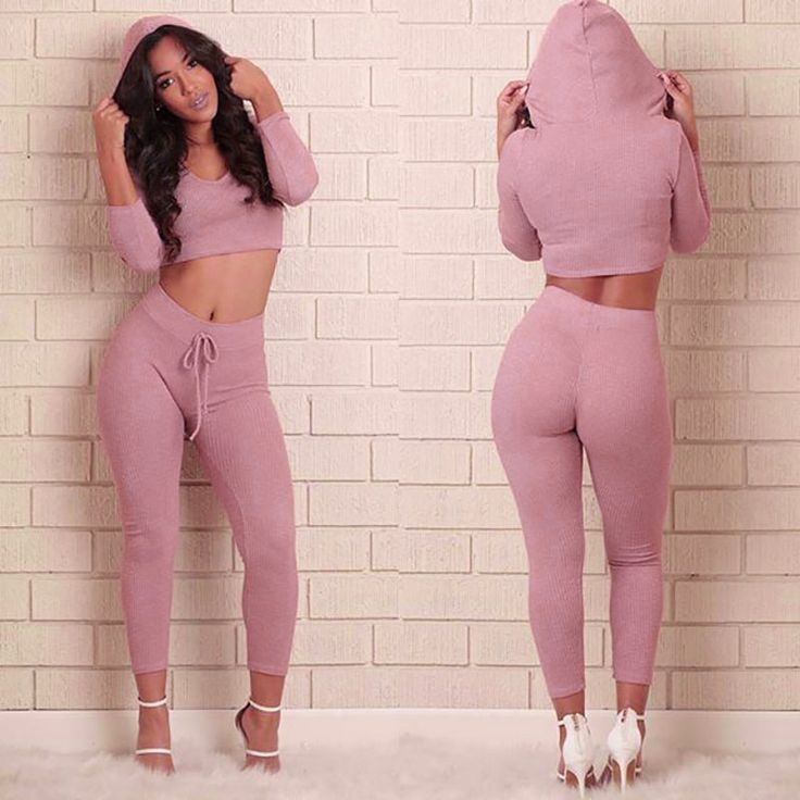 GZDL Fashion Autumn Women Hoodies Two Pieces Set Long Sleeve V Neck Crop Tops Casual Skinny Waisted Long Pant Suit Pink CL2950
