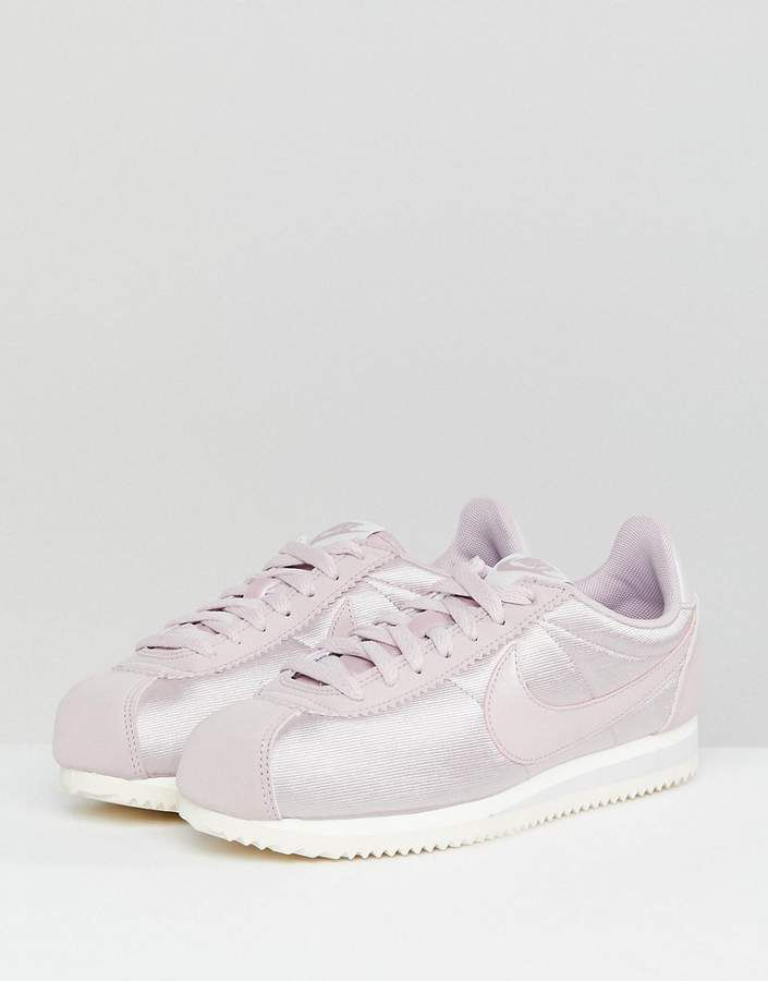 wholesale dealer ebeee 0a11f Nike Cortez Satin Nylon Sneakers In Pink