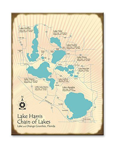Lake Harris Chain Of Lakes Florida Wood Map Sign Art 23