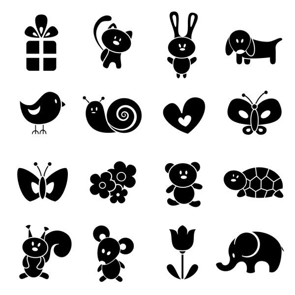 FREE SVG animal silhouettes - Use them with heat transfer materials and a heat press to make fun children's apparel.