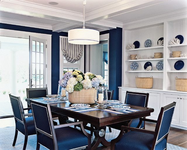 Bead Board Dinning Rooms And Sophisticated Dark Wood Navy Blue Chairs