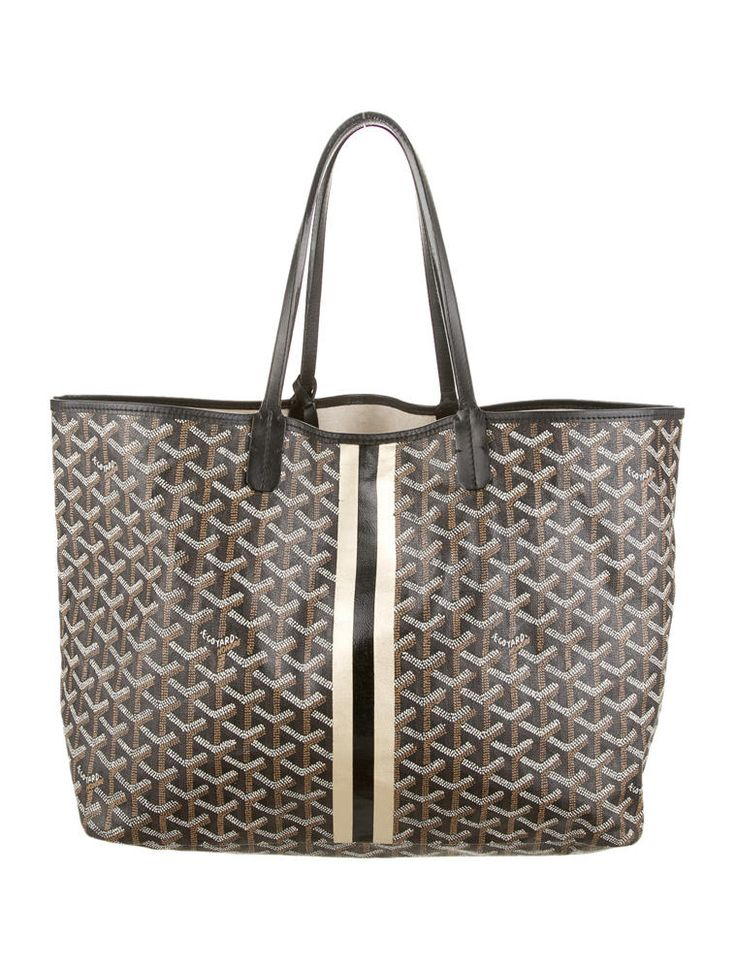 Brown, black and multicolor Goyard St. Louis monogram canvas tote with matching wallet.