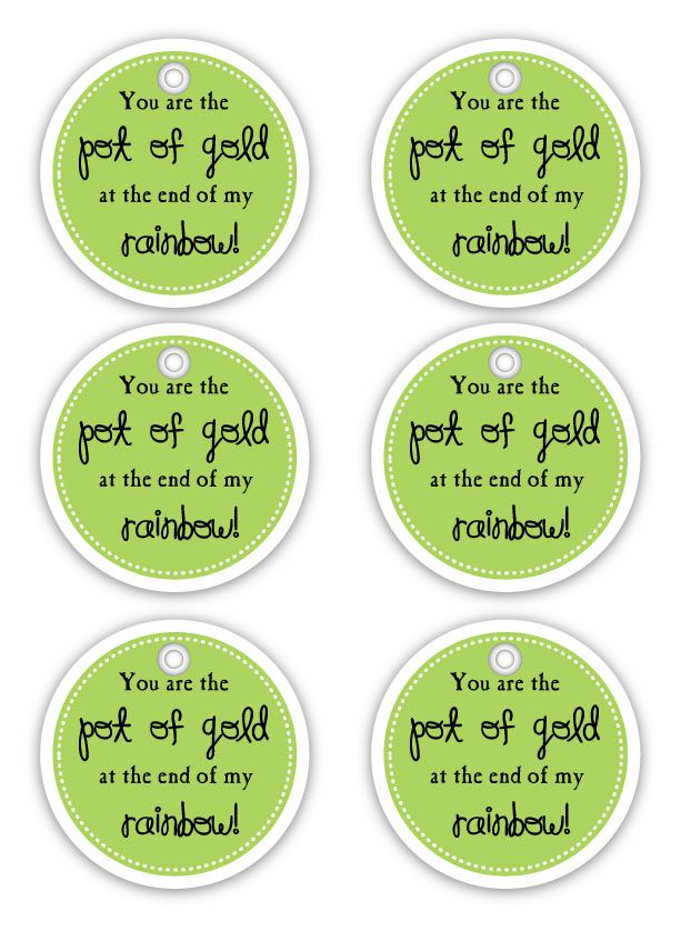 You are the Pot of Gold at the end of my rainbow gift tag... Cute cupcake toppers too!