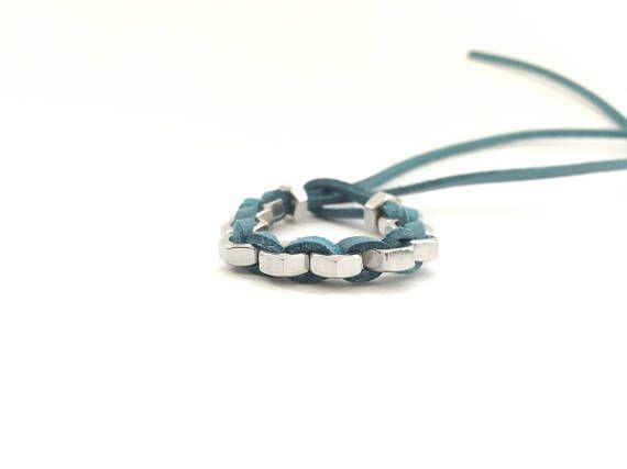 Industrial bracelet Light blue leather cord Hex nut bracelet Minimal contemporary jewelry Hardware bracelet Boho chic bracelet HEXNUTSMADE