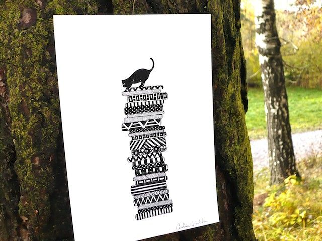 Cat On Cushions, poster by Carolina Grönholm  - Illustration & Design #nordicdesigncollective #carolinagrönholmillustration&design #cat #cushion #heights #kitty #trees #poster #blackandwhite #outdoors #prints #patterns