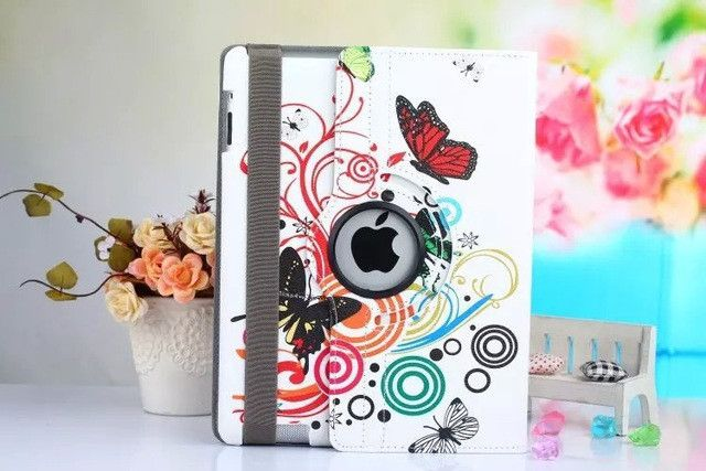 """9.7""""for ipad 3 2 New Arrive 360 Rotating Flower Butterfly Flip Stand PU Leather Case Cover For Apple ipad 2 3 ipad 4 Tablet Case"""