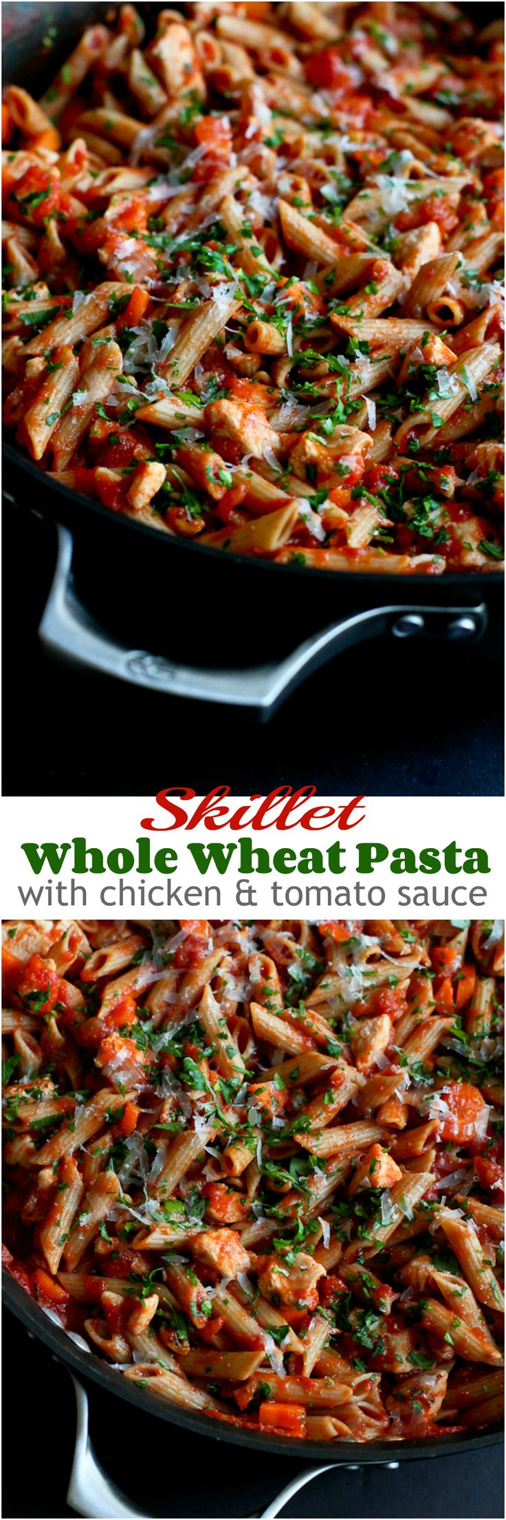 Skillet Whole Wheat Pasta with Chicken and Tomato Sauce…30 minute dinner!  240 calories and 6 Weight Watchers PP | cookincanuck.com #recipe #healthy