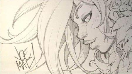 Battle Chasers Nightwar Red Monika portrait mini sketch   (Pencil)