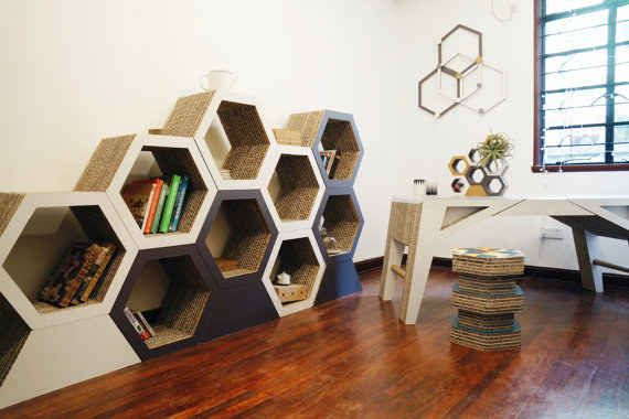 Use add-on hexagons to build a honeycomb shelf.