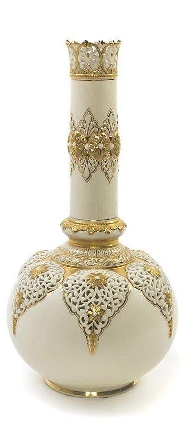 Gold and White Bud Vase