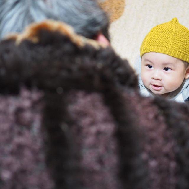 曾祖母ちゃんとお話し 楽しいな  #ベビーモデル #赤ちゃんモデル #ベビフル #べびふる #赤ちゃん #かわいい赤ちゃん #ママ手作り #手作りの帽子 #ベビーカー #お買い物 #どんぐり帽 #どんぐり帽子 #帽子大好き #手編み #手編み帽子 #帽子がよく似合う