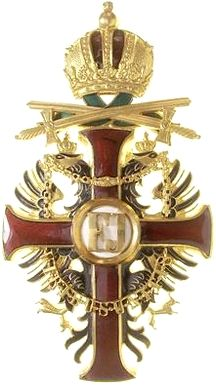 Franz Joseph Order, Officer's Cross breast badge, 'Steckkreuz', with WD and swords, Firma Rothe & Neffe, Vienna.