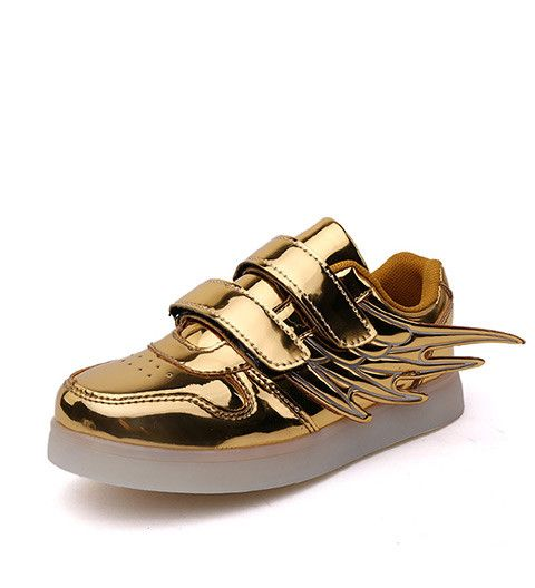 Fashion Kids Light Up Shoes With Wings For Boys Girls Sneaker Gold Silver Tenis Infantil Superstar Enfant Led Growing Sneakers