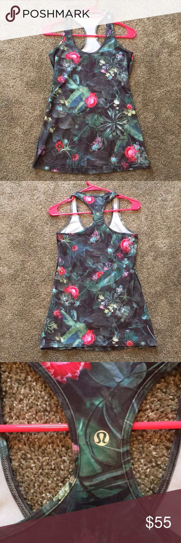 Lululemon Curious Jungle cool racerback size 8 Lululemon Curious Jungle cool racerback size 8. This tank is in perfect condition, no flaws. Only worn once on my honeymoon . Rare print! No size dot or tag, but definitely a size 8. I do not trade ‍♀️ lululemon athletica Tops Tank Tops