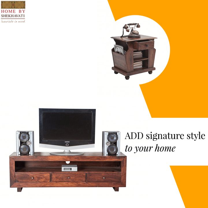 ADD SIGNATURE STYLE TO YOUR HOME  Furniture helps to set the right tone for every home.  This gorgeous-looking TV entertainment unit gives your living room a whole new dimension.  Home By Shekhavati showcases a vast variety of impeccable furniture that is made of Sheesham Wood that adds that extra quality to your Home.  To shop, visit http://bit.ly/HomePage_HBS
