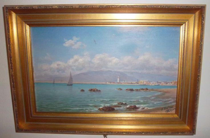 Enrique Florido Bernils (Málaga , 1873 - 1929) Veleros frente a la ciudad de Málaga.