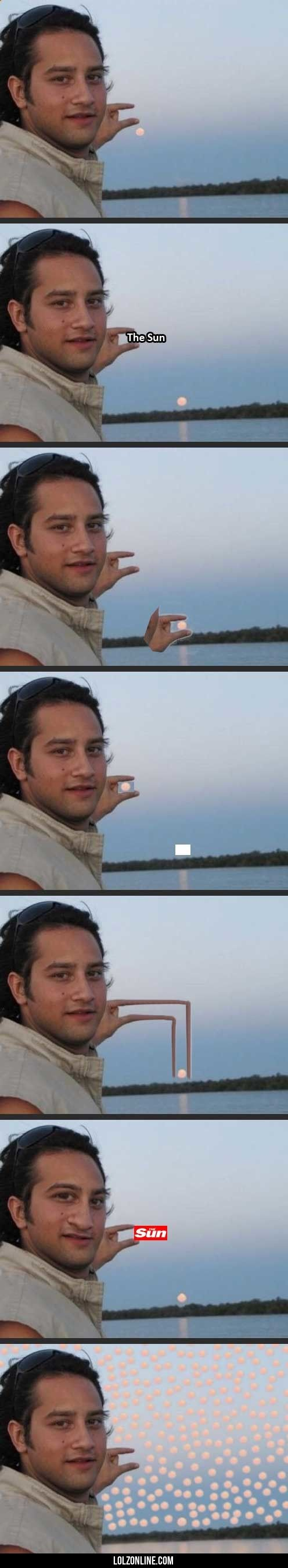 Hey Internet can you please photoshop the sun between my fingers?#funny #lol #lolzonline