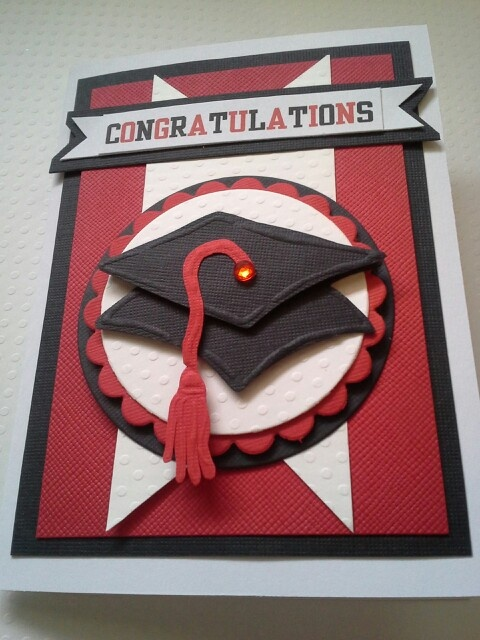 Handmade graduation card in your school colors. By dalayney from chucklesandcharms on etsy.