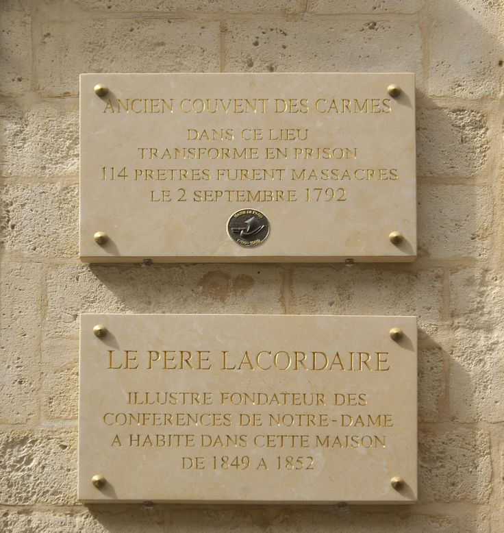 Plaques comemmorating the victims of the massacres at the Carmelite abbey, 70 rue de Vaugirard, Paris.