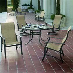 """Villa Soleil Sling Dining Groups - 90"""" Rectangular Dining Table with 8 Swivel Rockers - Aluminum Patio Furniture by Woodard. $3899.00. Aluminum Patio Sling Dining Groups - 90"""" Rectangular Dining Table with 8 Swivel Rockers. Visit our site for Sling Color and Aluminum Finish options. A beautiful blend of traditional designs presented in sculpted solid cast aluminum make Villa Soleil the perfect look to transition outdoors. Completely rustproof and available in eigh..."""