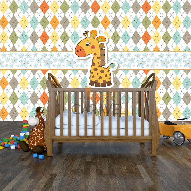 Παιδική Ταπετσαρία τοίχου καμηλοπάρδαλη σε καρό φόντο