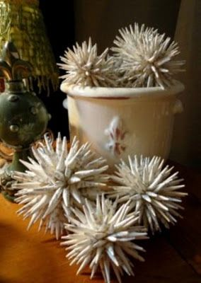 Spikey paper balls.  Really cheap and easy to make!                                                                                                                                                                                 More
