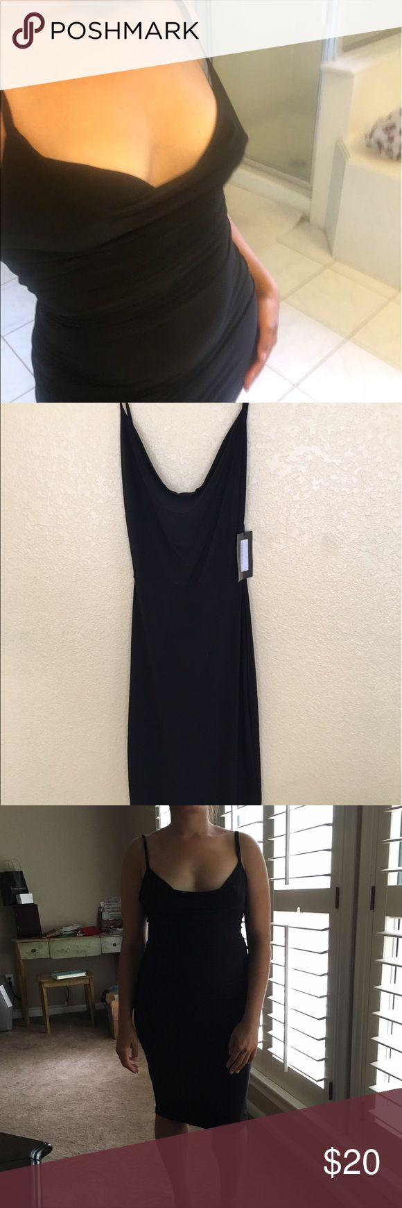 Sexy Black Dress Boohoo NWT Brand new with tags super flattering on your curves size 4 US Nasty Gal Dresses Midi