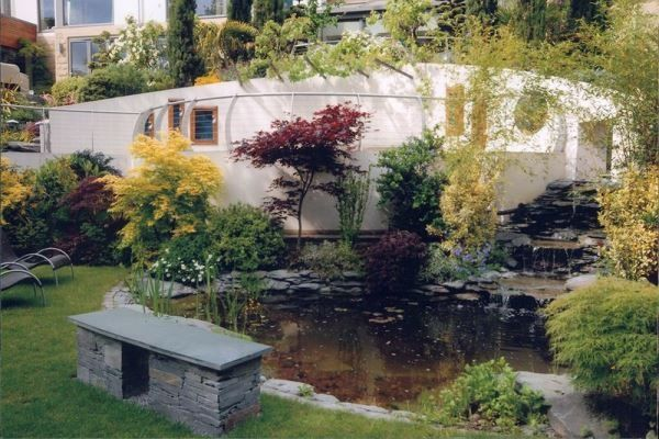 No.10 Lakeland Slate, Large Wildlife Pond 18ft x 14ft  (5.4m x 4.2m), with the elaborate waterfalls adding to the price (approx. 10 tons of rock), all in design and build £19,000. The same size pond but smaller waterfalls, package price £16,000