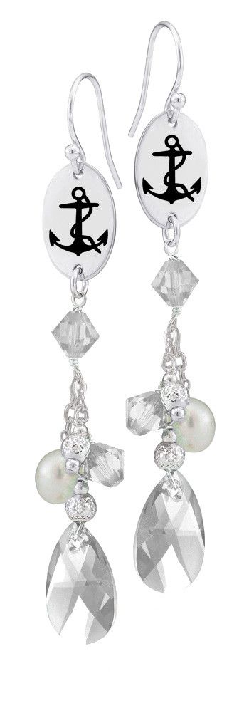 Delta Gamma Symbol Clear Crystal and Freshwater Pearl Earrings