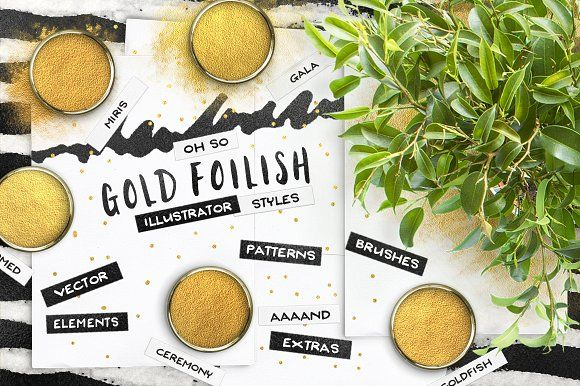 ILLUSTRATOR Gold Styles + EXTRAS! by Pink Coffie on @creativemarket
