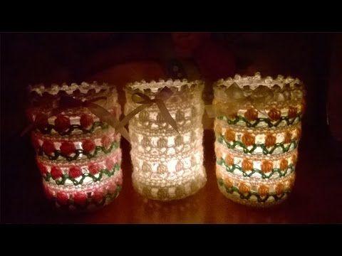 Portacandela all'Uncinetto Tutorial -Portavelas al Crochet- how to crochet a jar cover candleholder #portacandela #uncinetto #tutorial #vasetto #portavela #crochet #patron #jar #candle #cover #croche #natale #christmas #pattern #navidad