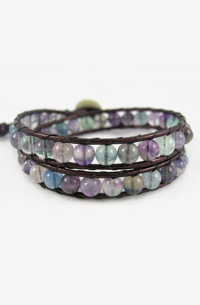 Fluorite Bracelet, Double Wrap Bracelet