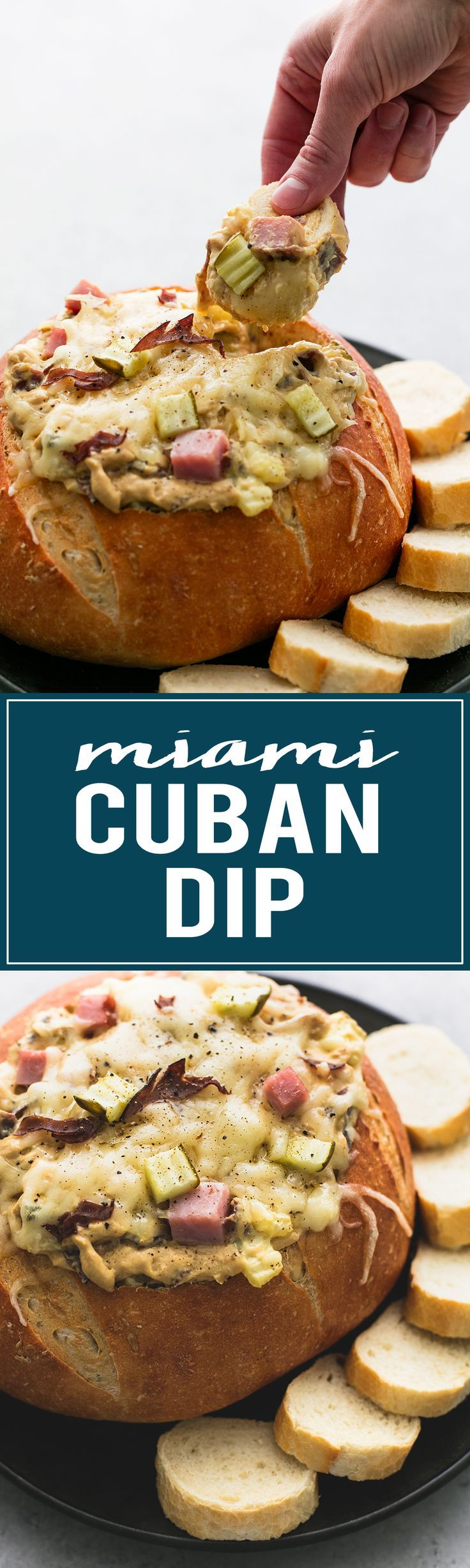 Miami Cuban Dip - a cheesy, dippable twist on the famous Cuban sandwich! | http://lecremedelacrumb.com