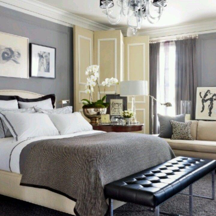 grey and tan bedroom | Guest bedroom ideas | Pinterest