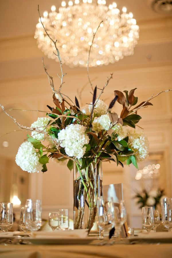 Magnolia And Hydrangea Centerpiece Wedding Blog And Fall