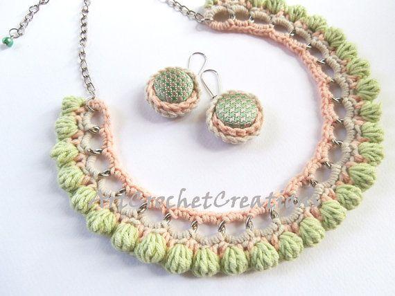 Crochet Jewelry SET - Crochet Necklace and Crochet Button Earrings