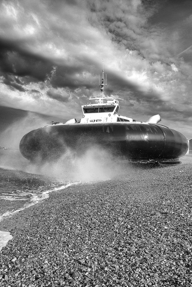 The hovercraft departs from Southsea for Ryde, Isle of Wight.