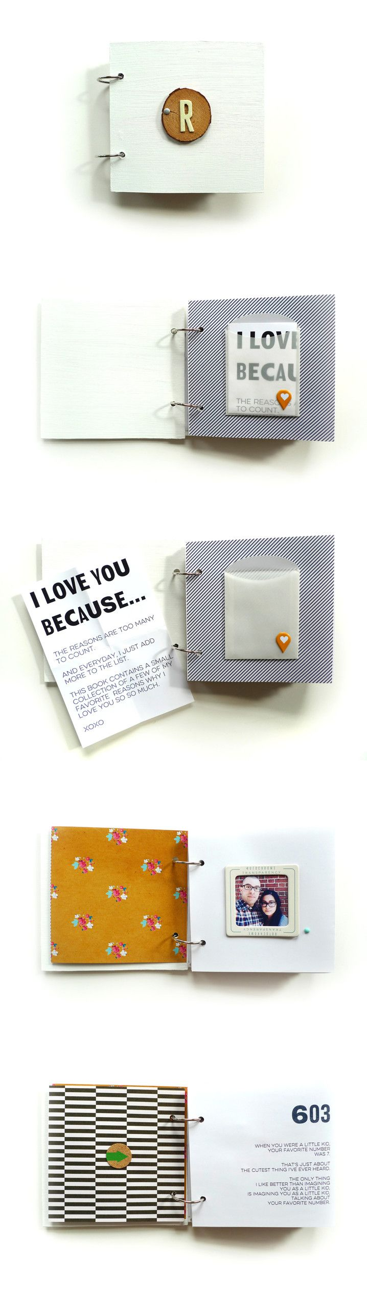 super special idea for someone you love - mini scrapbook with reasons why you love them and pictures