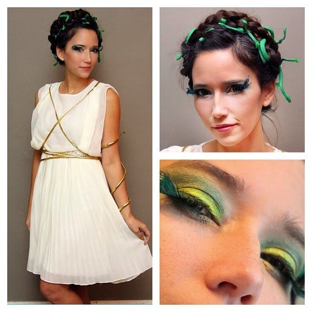 "Simple Medusa Costume. Last minute idea - cute white dress and killer green eyes, ""snakes"" in hair... voila!"