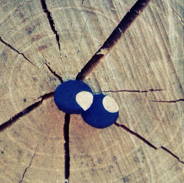 Orecchini a bottone -stoffa a poi bianco blu-