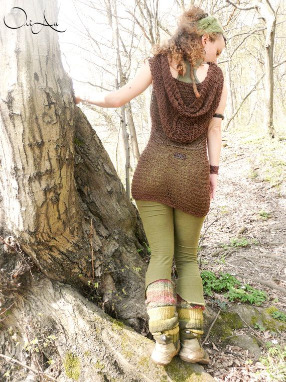 Knitted dress with hood, hood dress, hand knitted, brown dress, gypsy dress, forest, pixie, festival clothes, hippy clothes, bohemian, elf on Etsy, $110.63