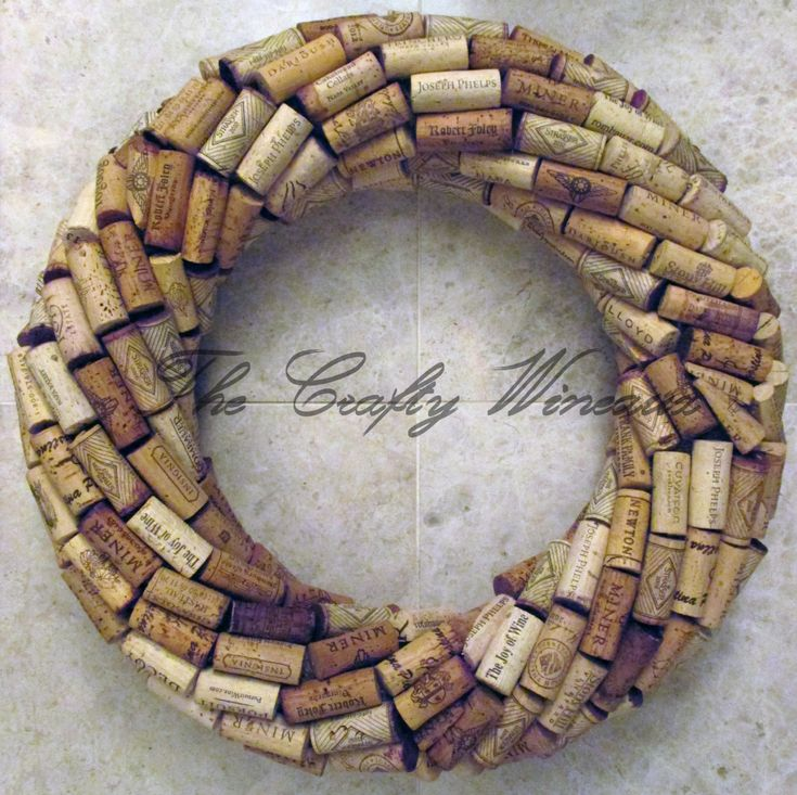 "Medium 13"" Handmade Wine Cork Wreath, Without Grapes/No Grapes, Recycled Wine Cork Door Wreath - pinned by pin4etsy.com"