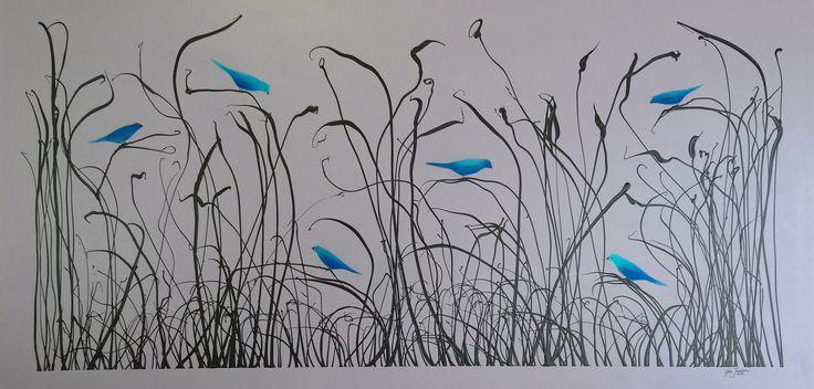 Reeds with Blue Birds on canvas 2m x 1m Glen Josselsohn www.glenjosselsohn.com