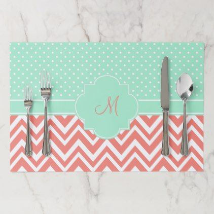 Monogram Coral Chevron with Mint Polka Dot Pattern Placemat - patterns pattern special unique design gift idea diy