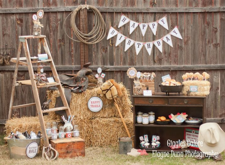 cowboy party - Google Search (use vintage ladder)
