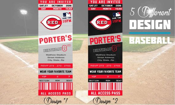 Celebrating a birthday? Check out these Cincinnati Reds tickets party invitations!