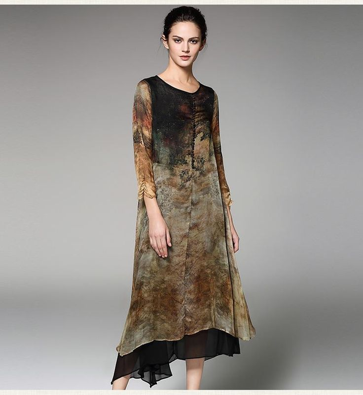 Women Mid-Calf Three-Quarter Dress  #men #onlineshopping #skirts #shoping #sweaters #jackets #scarves #online #accessories #women