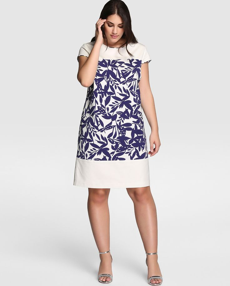 Vestido bicolor de mujer talla grande Couchel con manga corta